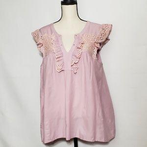 Lauren Conrad short sleeve blouse with crochet